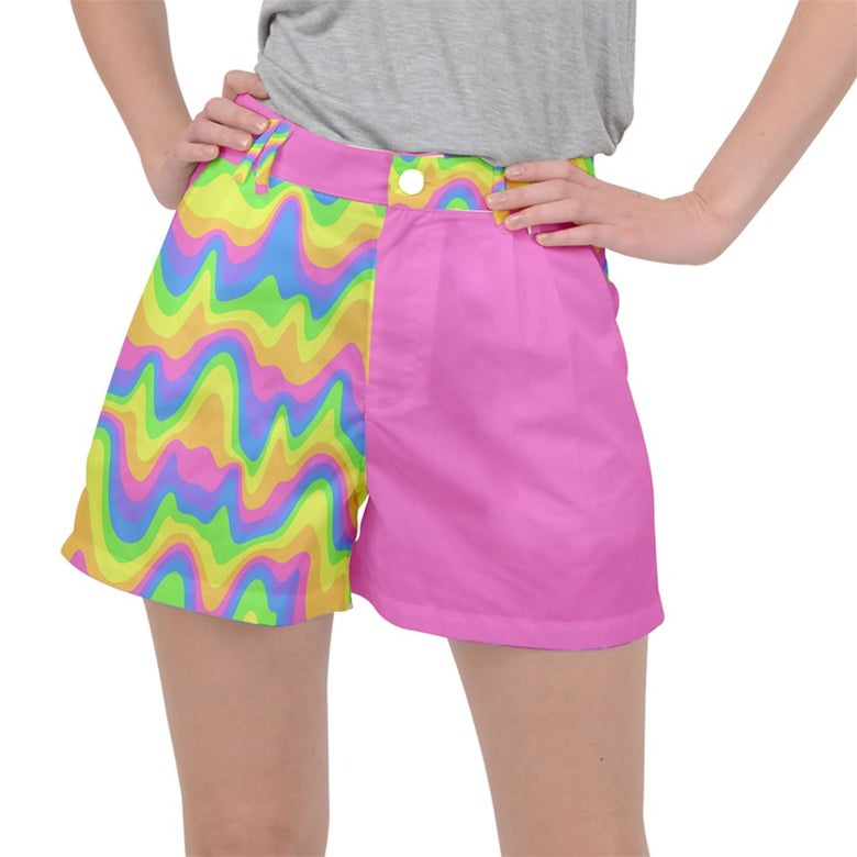 Image of Trippy colorblock rainbow shorts PREORDER! (ends 8/17)