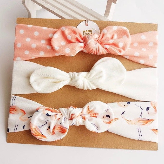 Image of Headbands gift set - Peach flamingoes