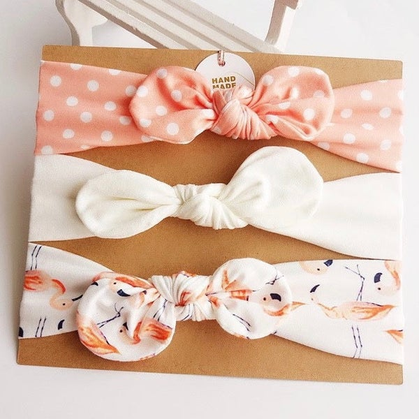 Image of Baby girl headbands gift set - Peach flamingoes