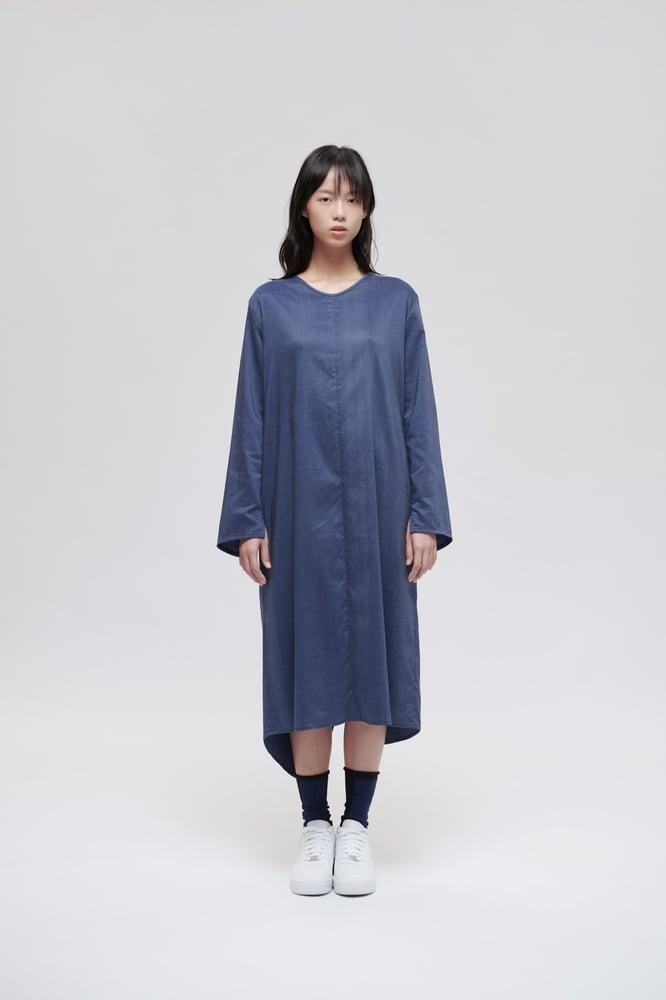 Image of TRAN - 條紋七分䄂洋裝 (藍)