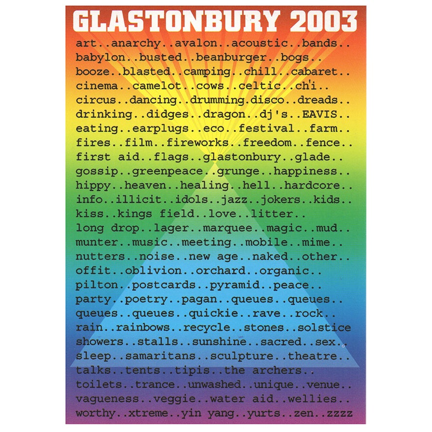 Image of Limited Edition Glastonbury Postcard | Words 2003