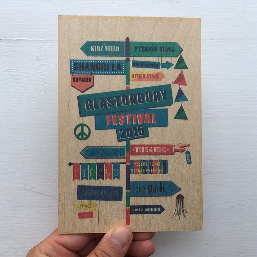 Image of Limited Edition Glastonbury Wooden Postcard   2015