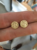 Trigon Pattern studs in solid 18ct gold