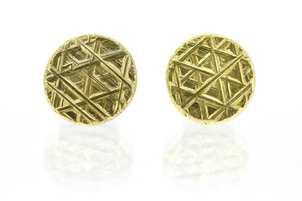Image of Trigon Pattern studs in solid 18ct gold