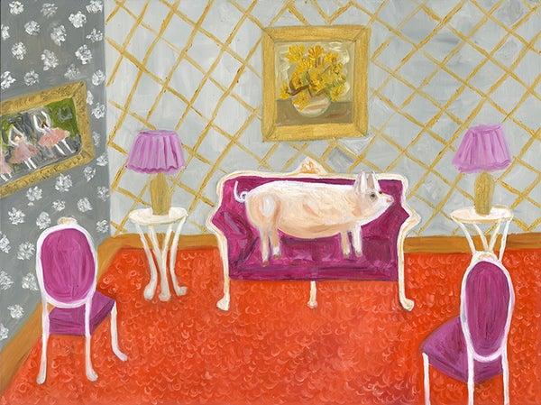 Image of The bourgeois pig. Original oil painting.