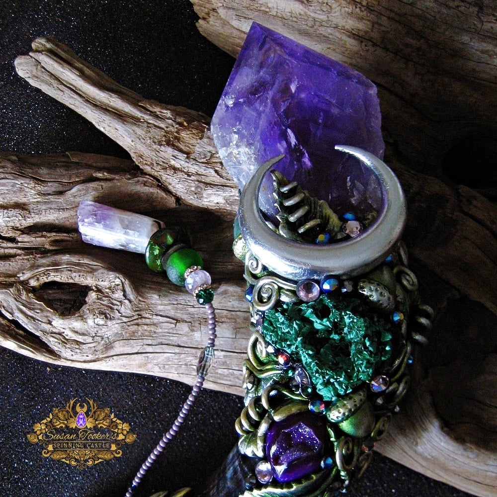 Image of OTHERWORLD MAGIC - AMETHYST MAGICK CRYSTAL WAND MALACHITE CHRYSOCOLLA HORN PAGAN ALTAR ART