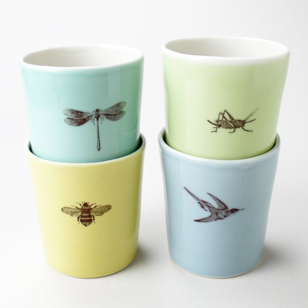 Image of set of four 12oz tumblers, garden friends