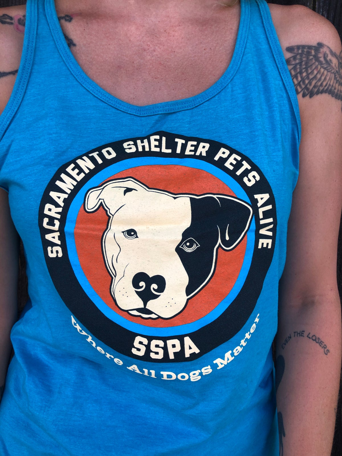 Image of $20 donation - SSPA Unisex Tank Top Neon Blue