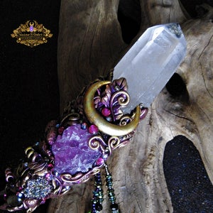 Image of FAERIE ENCHANTER - LEMURIAN QUARTZ MAGICK CRYSTAL WAND PINK FLUORITE AURA DRUZY HORN PAGAN ALTAR ART