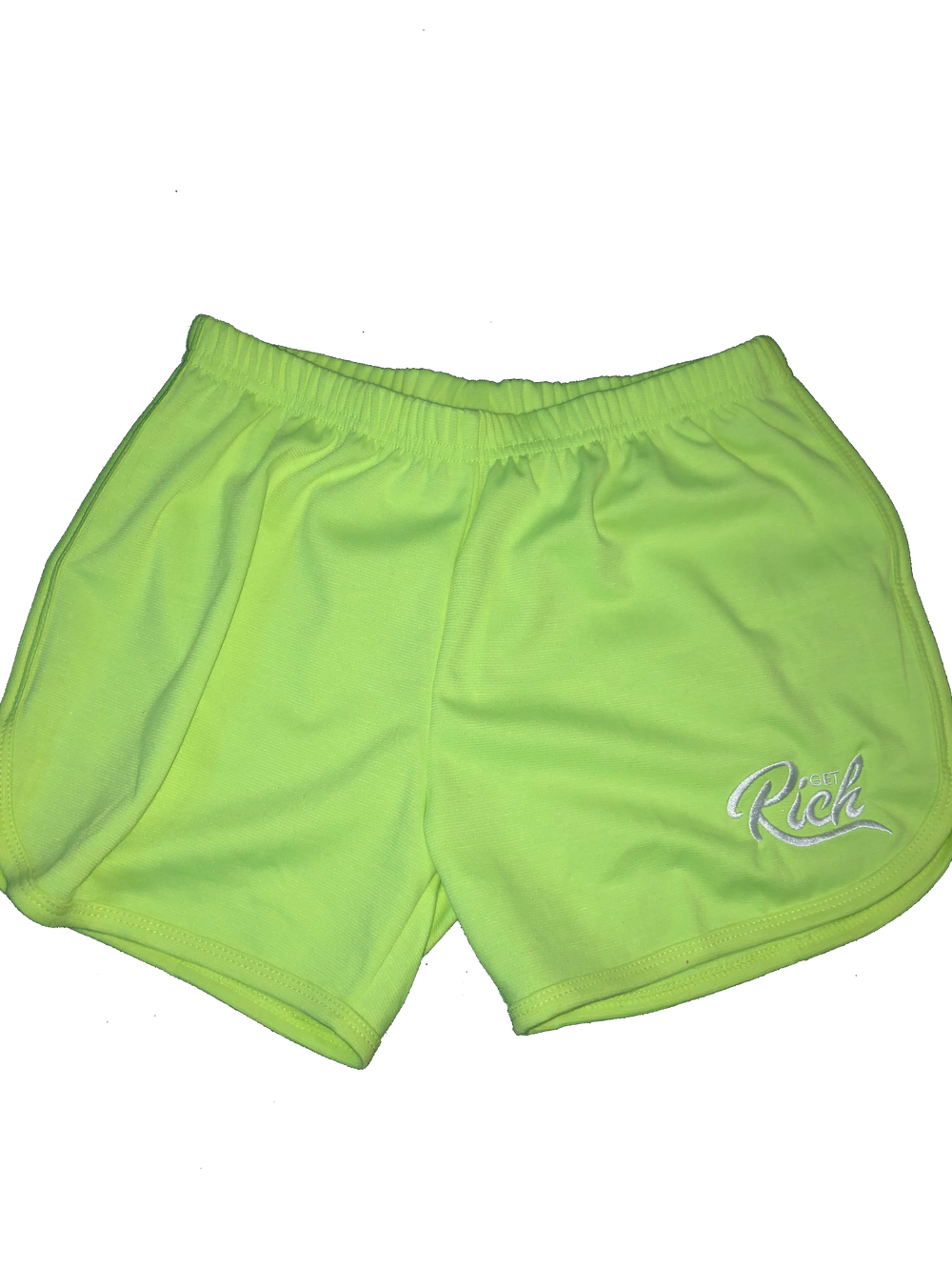 Image of Get Rich - Women's Shorts (Lime Green)