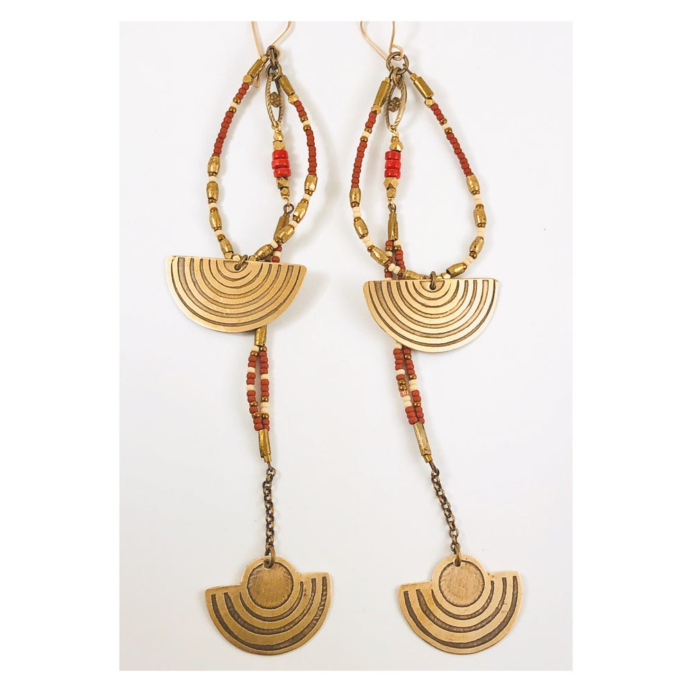 Image of Totem Earrings Brick/Brass w coral