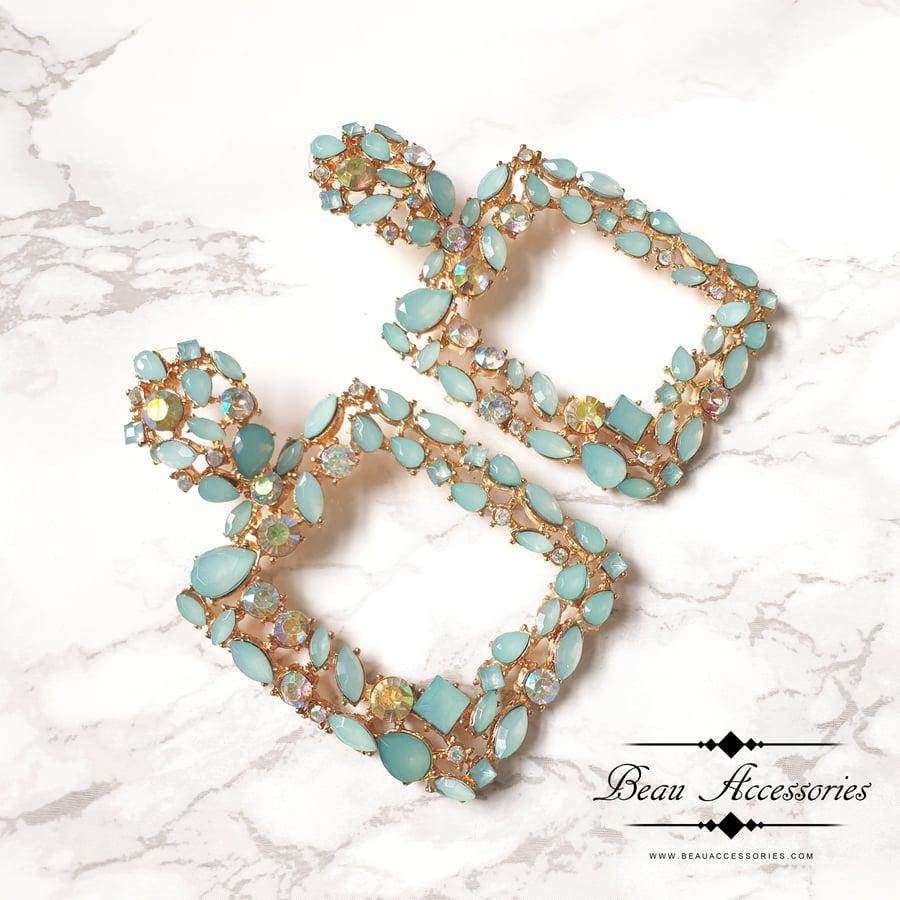 Image of Sea Green Crystal Earrings