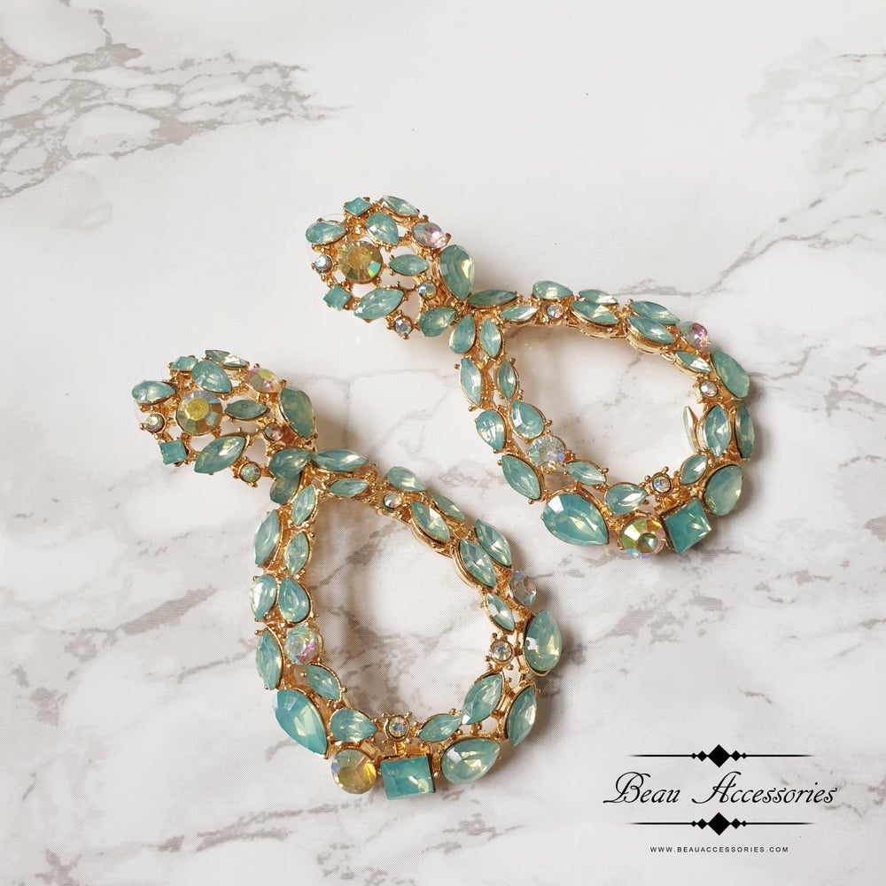Image of Sea Green Oval Drop Crystal Earrings
