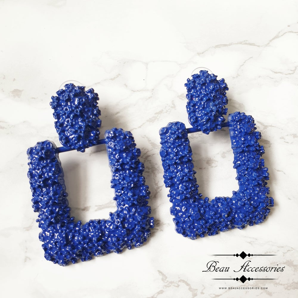 Image of Blue Square Textured Earrings