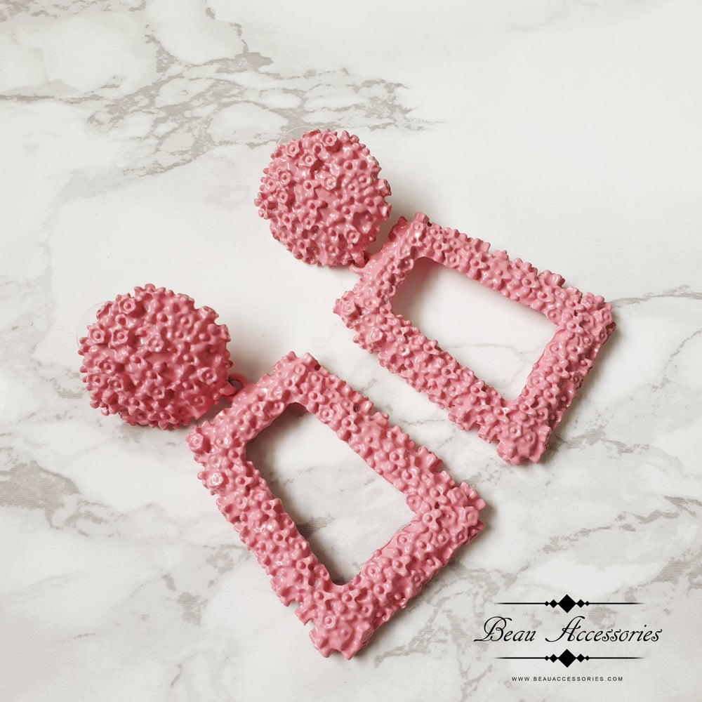 Image of Candy Pink Textured Earrings