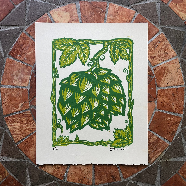 Image of Hops on Vine print