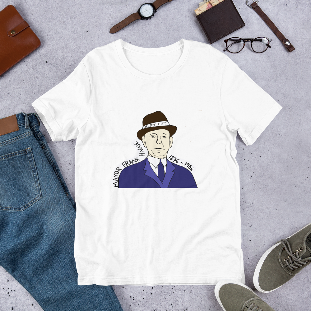 Image of Frank Hague was a Popular Mayor and He Still is - Unisex white tshirt with Mayor Frank Hague's face