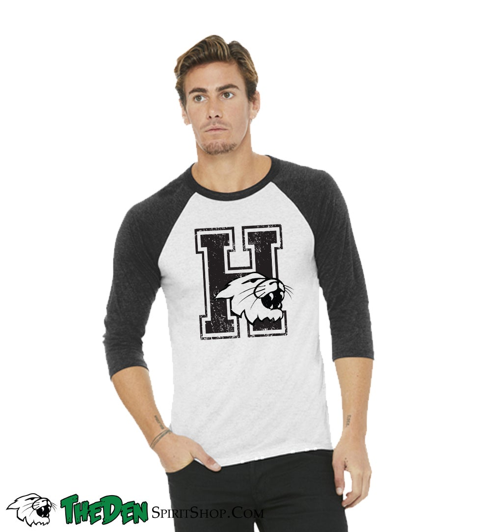 Image of Distressed H, 3/4 Sleeve, Men's