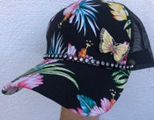 Image of Black Hawaiian Baseball Hat Yellow Butterfly