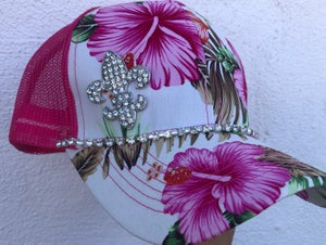 Image of Pink Hawaiian Trucker Hat Crystal Fluer de Lis