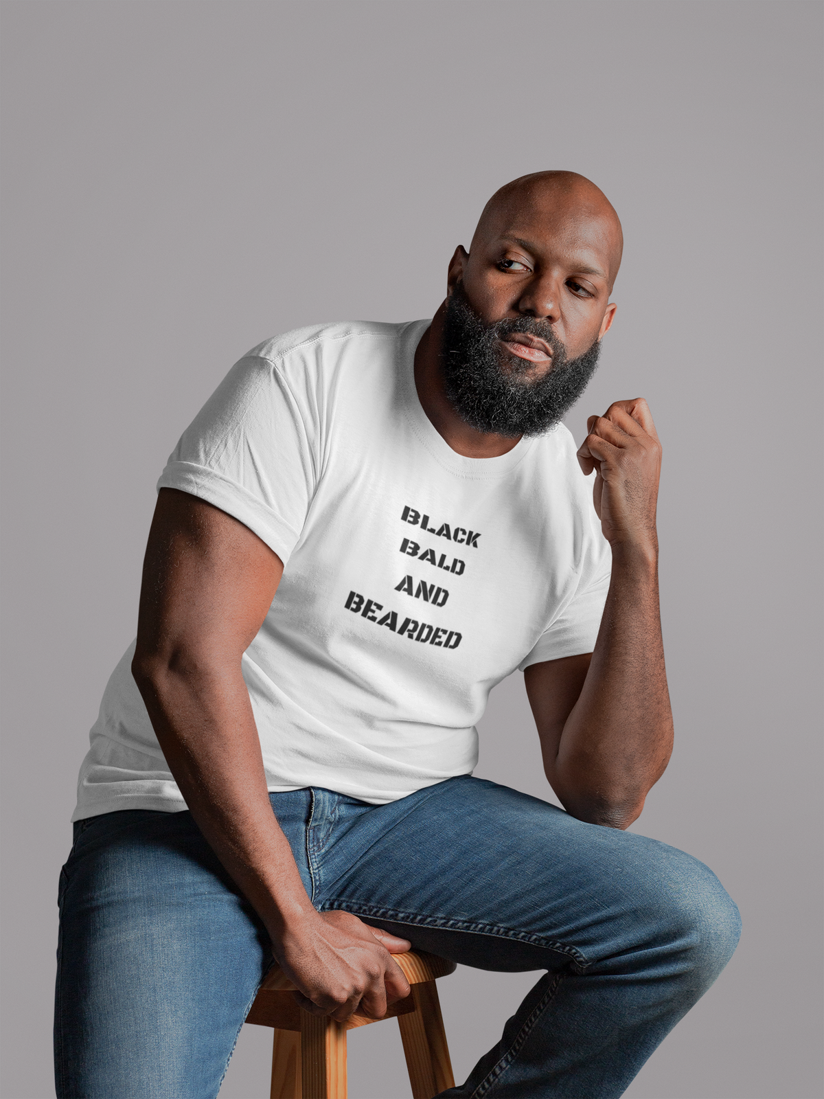 Image of Black bald and bearded tee