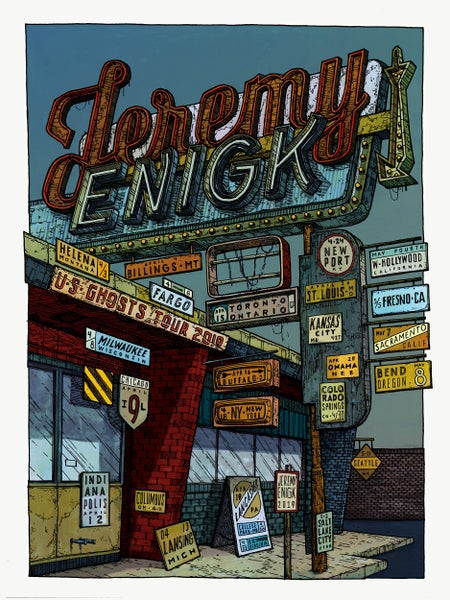 "Image of Jeremy Enigk  (Spring 2019 U.S. Ghosts Tour) • L.E. Official Poster (18"" x 24"")"