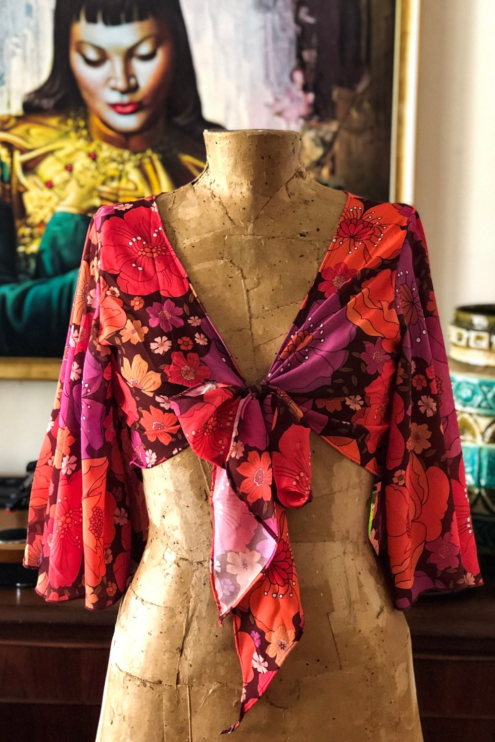 Hearts a Flutter tie top in the Just Lovely print in Magenta