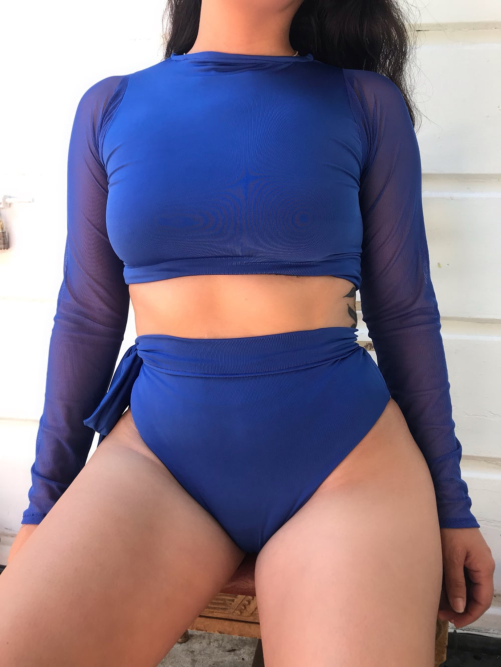 Image of 2 PIECE SET, LONG MESH SLEEVES TOP, SIDE TIE BOTTOMS