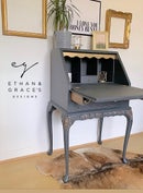 Image 1 of Dark grey & gold ladies bureau desk