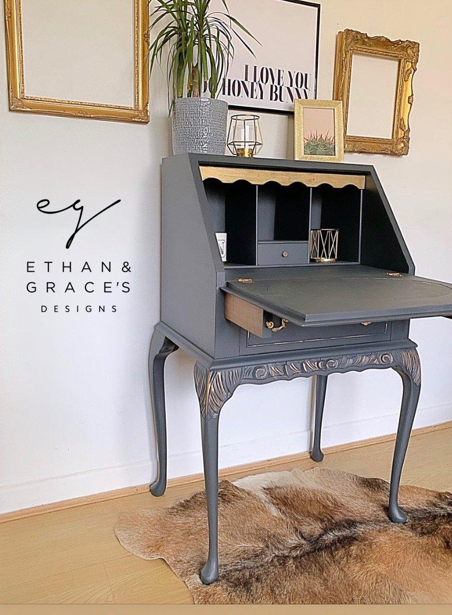 Image of Dark grey & gold ladies bureau desk