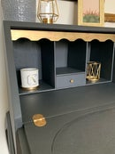 Image 2 of Dark grey & gold ladies bureau desk