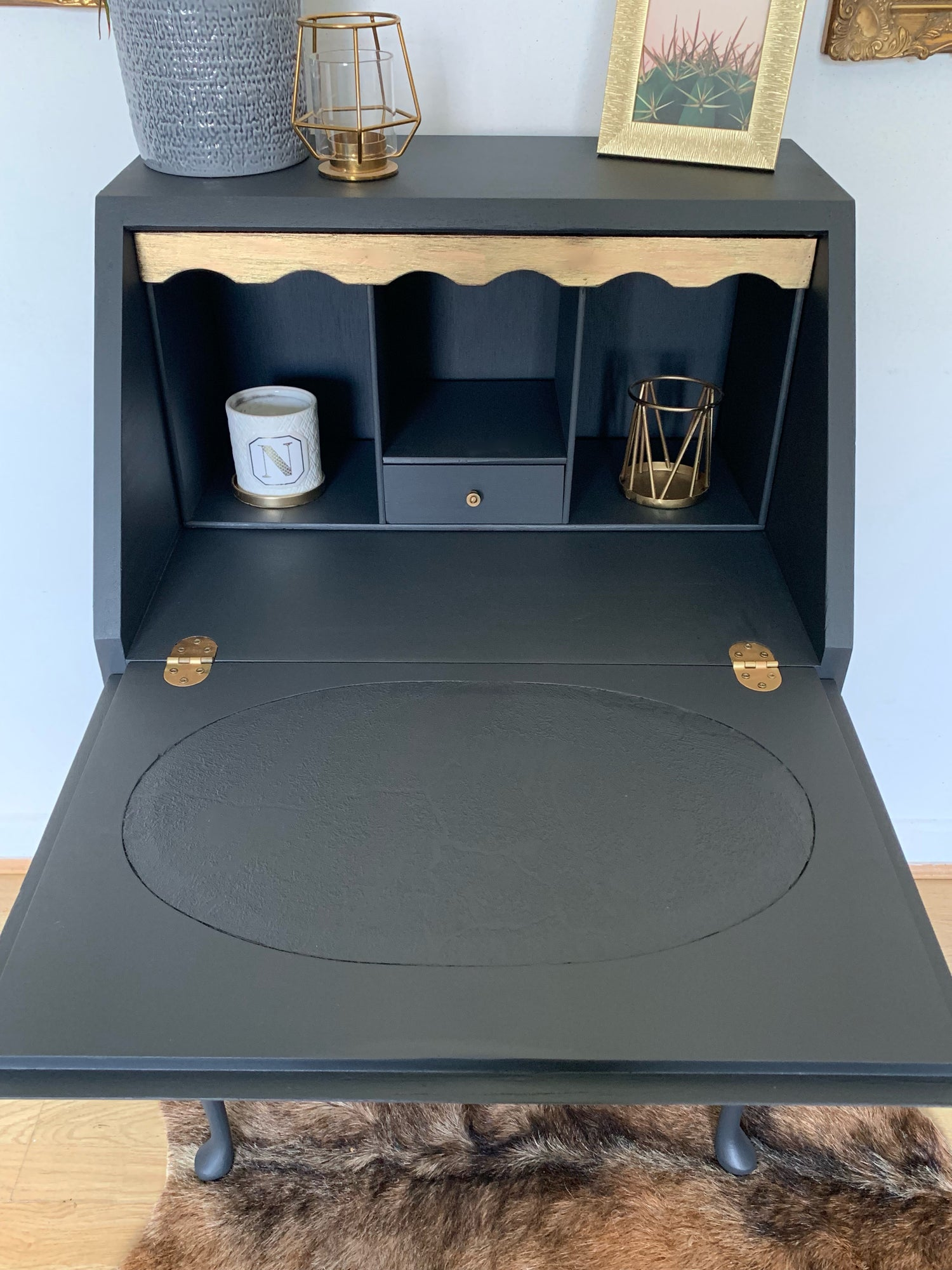 Image of Dark grey & gold ladies bureau desk
