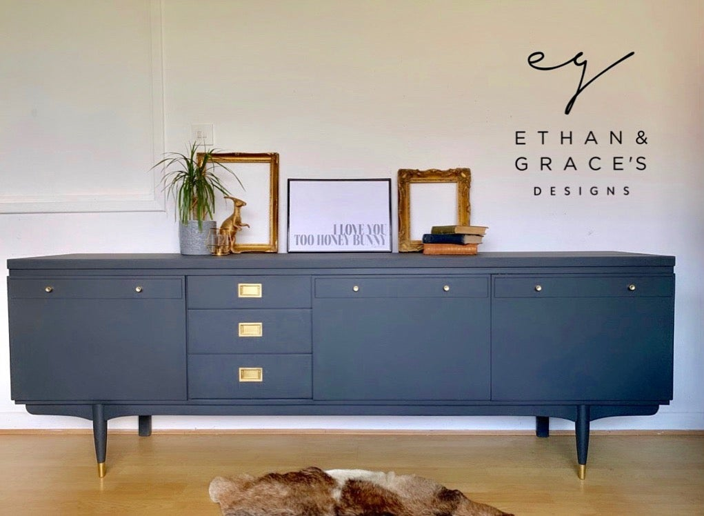 Image of Dark grey Thomas & Greaves 7ft sideboard in dark grey
