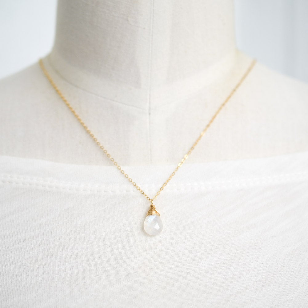 Image of Rainbow moonstone necklace solitaire