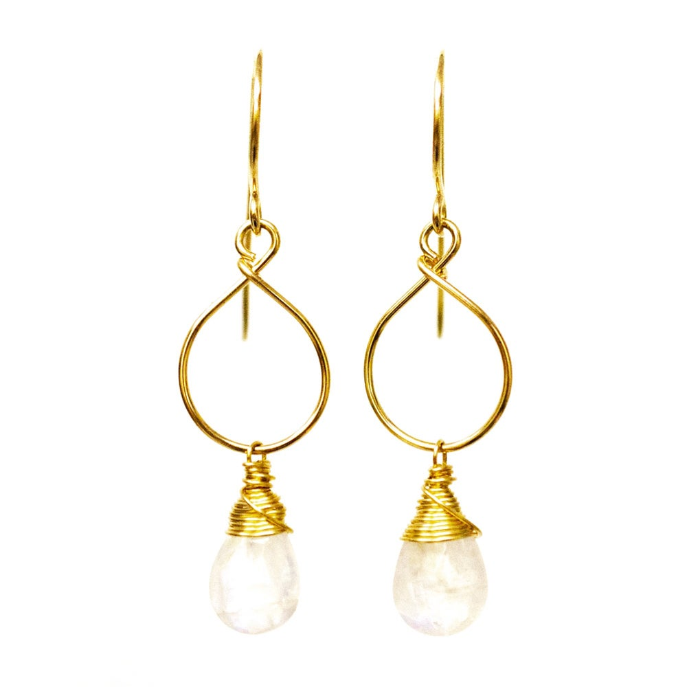 Image of Rainbow moonstone earrings 14kt gold-filled