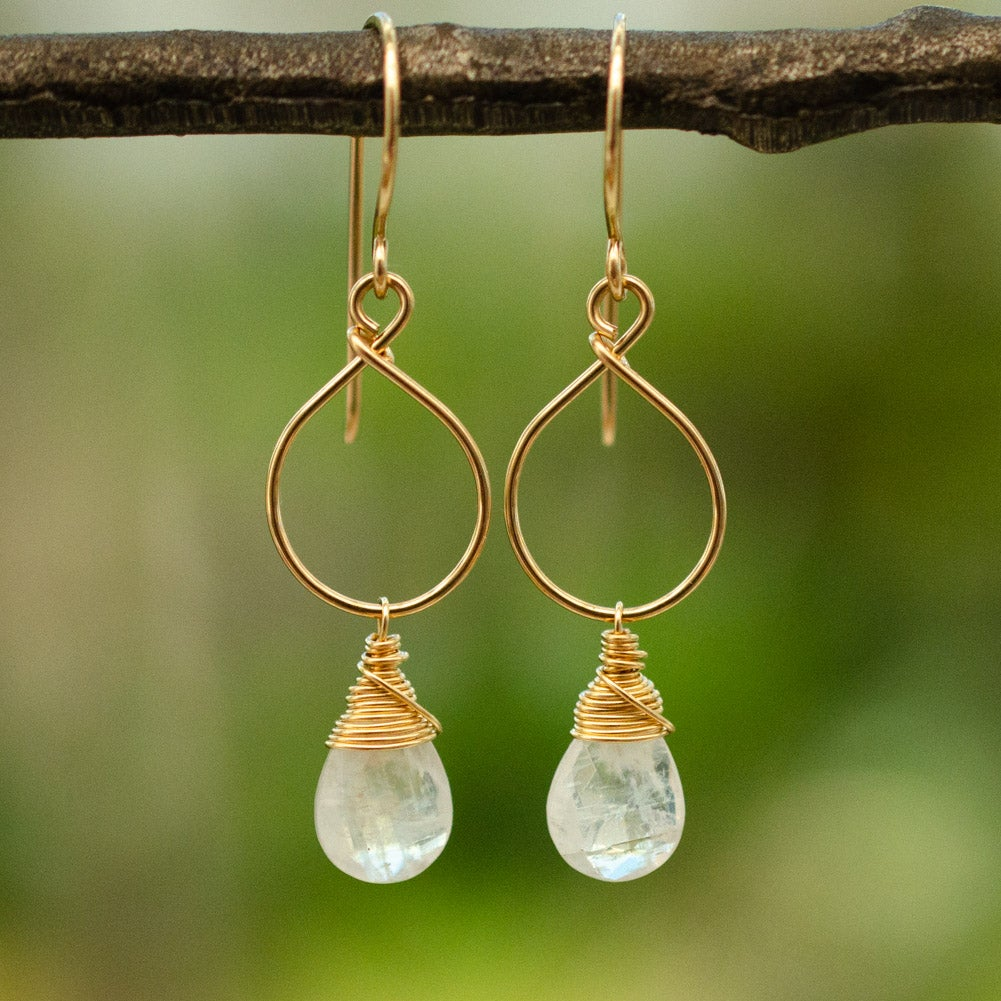 Image of Rainbow moonstone earrings
