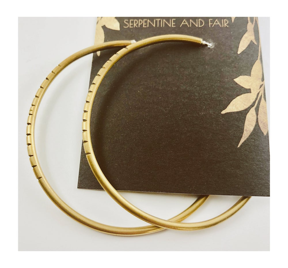 Image of Lg carved brass hoops w silver post backs