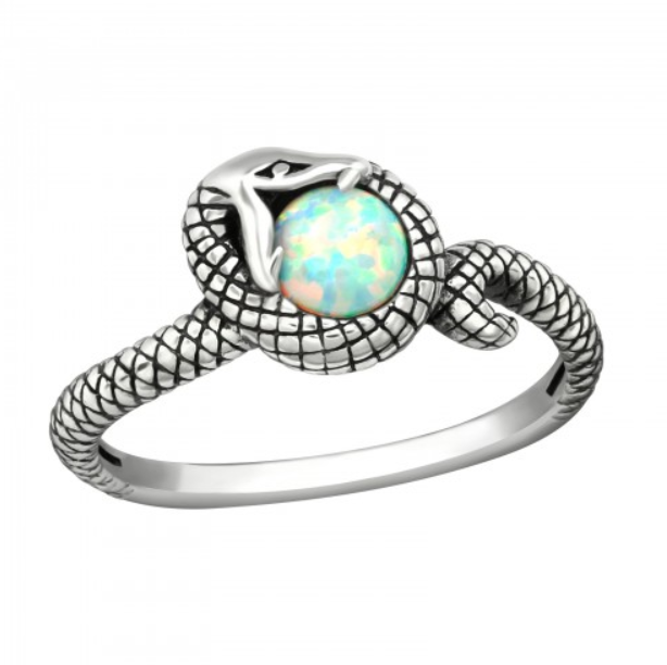 Image of Ophion fire snow opal snake ring (sterling silver)
