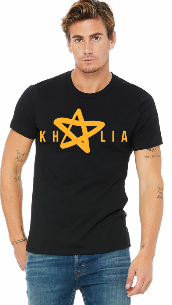 Image of Black Unisex Khalia Logo T-Shirt | Orange