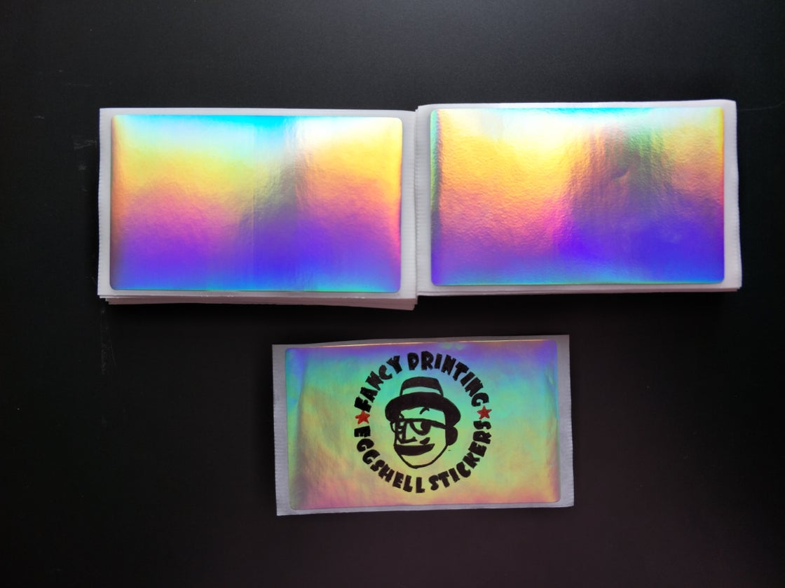 Image of Free Shipping Worldwide Blank Plain Hologram Eggshell Stickers 50/100/200pcs