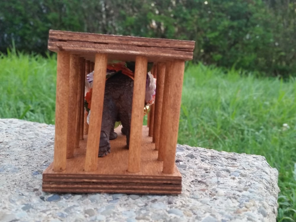 Image of 100% unofficial custom handmade bear in a cage