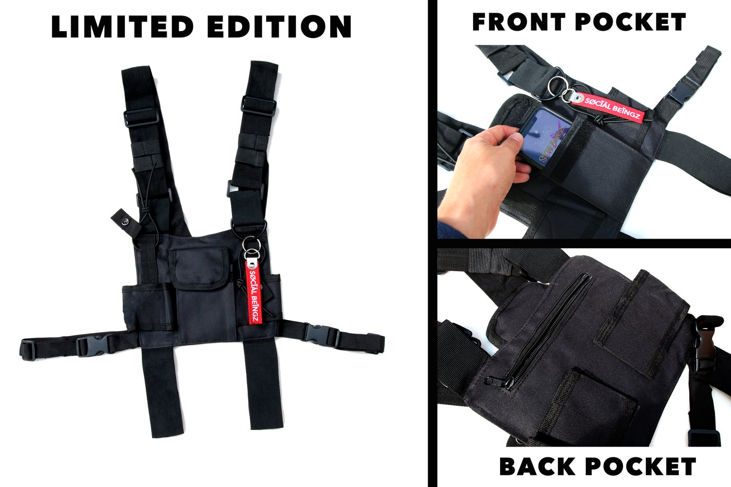 Image of LIMITED EDITION - BLACK - SB Vest strap - Fight Bag