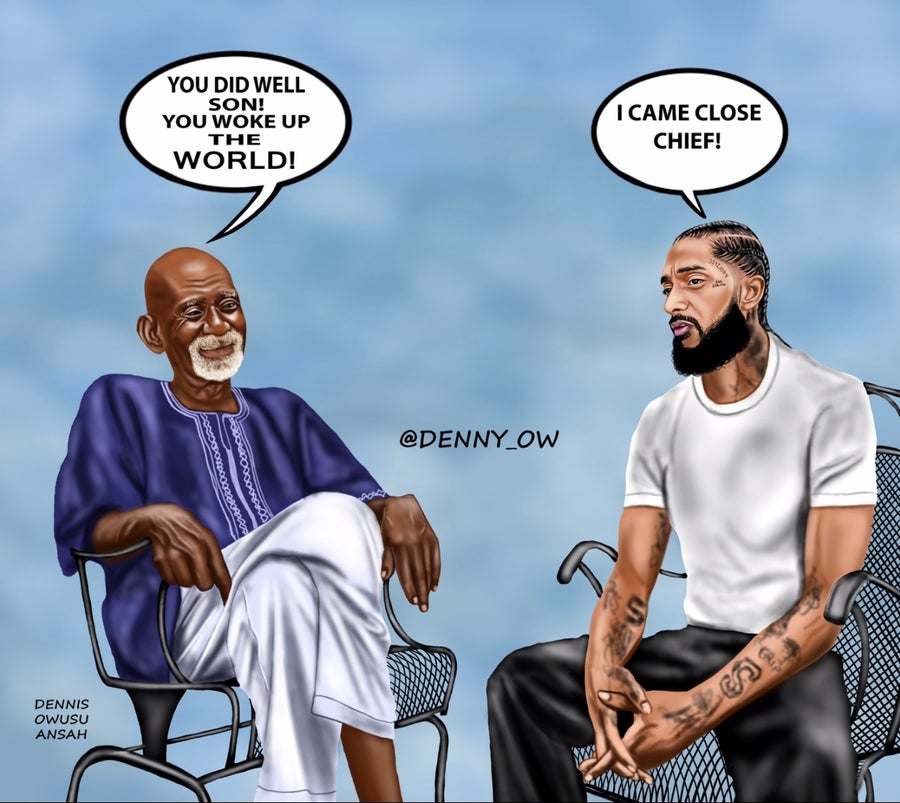 "Image of DR. SEBI & NIPSEY HUSSLE Stretched Canvas Print 24""x 30"""