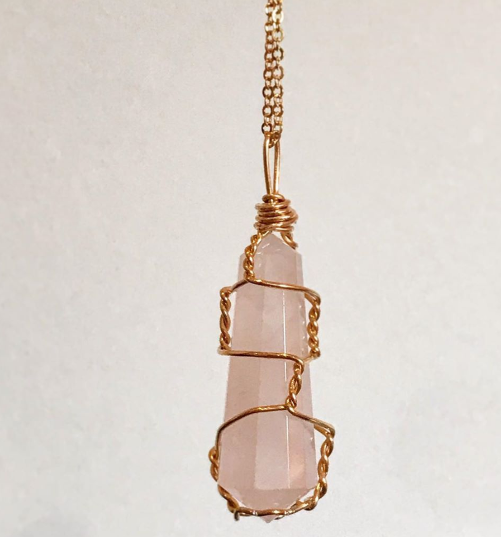 Image of  FIRENZA ROSE QUARTZ NECKLACE (medium)