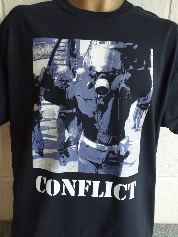 Image of CONFLICT Angry Cop Colour Ladies Tshirt