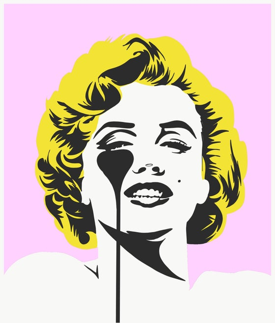 "Image of PURE EVIL ""I DREAM OF MARILYN"" - (GOLDEN YELLOW HAIR) LTD ED 100 - 70CM X 85CM"