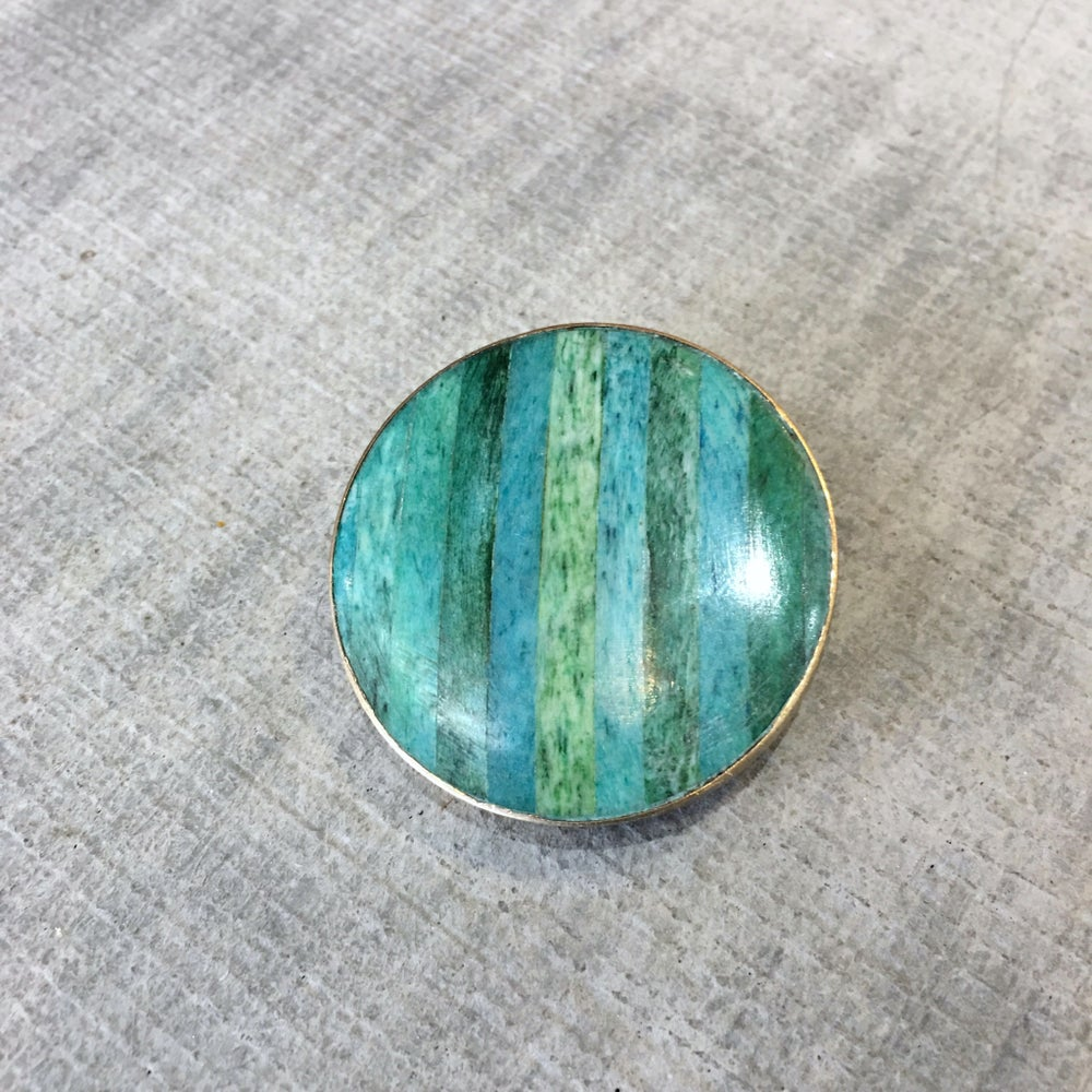 Image of WOODEN TURQUOISE W/GOLD TRIM | LUXURY LAPEL PIN