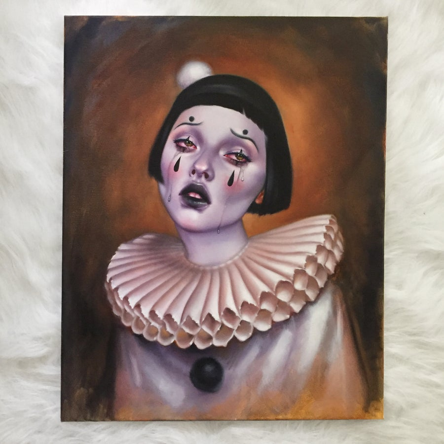 Image of Sad Clown #2 Original Oil Painting by Amber Carr