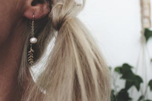 Image of fern and pearl earrings (metal options available)