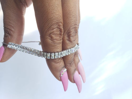 Image of Cubic Zirconia Silver Adjustable Anklet/Bracelet